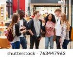 student group socializing in... | Shutterstock . vector #763447963