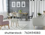 white cabinet and pink chair on ... | Shutterstock . vector #763454083