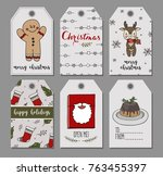 set of six  holiday christmas... | Shutterstock .eps vector #763455397
