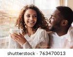 full of delight. close up of... | Shutterstock . vector #763470013