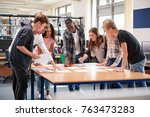 group of college students... | Shutterstock . vector #763473283