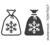 santa bag line and glyph icon ... | Shutterstock .eps vector #763475317