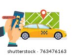 hand holds smartphone. taxi... | Shutterstock .eps vector #763476163
