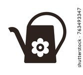 watering can and flower symbol... | Shutterstock .eps vector #763493347