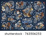 colorful vector hand drawn... | Shutterstock .eps vector #763506253