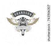 sport motorcycle logo template... | Shutterstock .eps vector #763506307