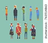 flat vector set of cartoon... | Shutterstock .eps vector #763514863