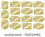 set of golden metal signs.... | Shutterstock .eps vector #763514983