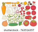 collection set of clean organic ... | Shutterstock .eps vector #763516357