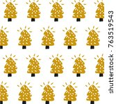 christmas tree vector pattern | Shutterstock .eps vector #763519543