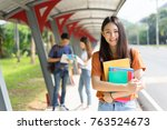 students university asian... | Shutterstock . vector #763524673
