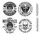 motorcycles set vector emblems  ... | Shutterstock .eps vector #763532947