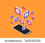 modern smartphone with cloud of ... | Shutterstock .eps vector #763533253