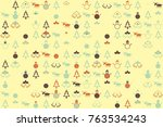 christmas pattern with... | Shutterstock .eps vector #763534243