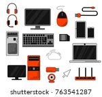 set of computer accessories and ... | Shutterstock .eps vector #763541287