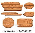 set of wooden plaques in... | Shutterstock .eps vector #763541977