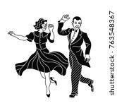retro dance couple silhouette.... | Shutterstock .eps vector #763548367