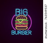 Fast Food Neon Sign Vector. Bi...