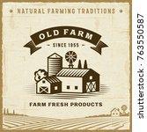 vintage old farm label | Shutterstock . vector #763550587