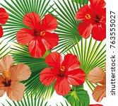 exotic tropic flower hibiscus ... | Shutterstock .eps vector #763555027