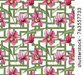 wildflower orchid flower... | Shutterstock . vector #763557733