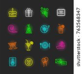 birthday neon icon set  vector... | Shutterstock .eps vector #763568347