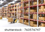 classic warehouse with pallet... | Shutterstock . vector #763576747