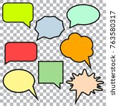bubble speech colorfull set   Shutterstock .eps vector #763580317