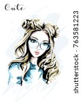hand drawn beautiful young... | Shutterstock .eps vector #763581223