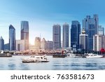 panorama of qingdao city by the ... | Shutterstock . vector #763581673