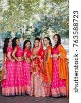stunning indian bride dressed...   Shutterstock . vector #763588723