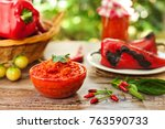 traditional ajvar in bowl with... | Shutterstock . vector #763590733