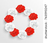 paper flower. white and red... | Shutterstock .eps vector #763593247