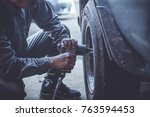 technician working on checking... | Shutterstock . vector #763594453
