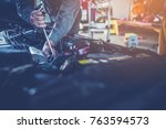 technician working on checking... | Shutterstock . vector #763594573
