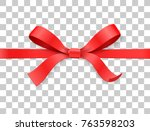red color satin bow knot and... | Shutterstock .eps vector #763598203