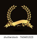 vector laurel wreath with... | Shutterstock .eps vector #763601323