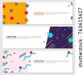 memphis style banner design set ...   Shutterstock .eps vector #763615627