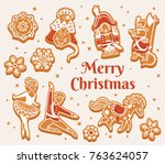 merry christmas card with... | Shutterstock .eps vector #763624057