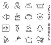 thin line icon set   money bag  ... | Shutterstock .eps vector #763624927