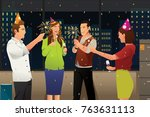 a vector illustration of young... | Shutterstock .eps vector #763631113