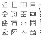thin line icon set   table lamp ... | Shutterstock .eps vector #763639513