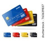 set of credit cards isolated on ... | Shutterstock .eps vector #763639837