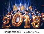 group of friends holding... | Shutterstock . vector #763642717