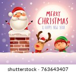 merry christmas  santa claus in ... | Shutterstock .eps vector #763643407