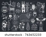 cute forest animals set  ... | Shutterstock .eps vector #763652233