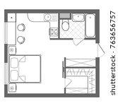 vector floor plan studio... | Shutterstock .eps vector #763656757