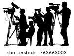 press cameraman silhouette | Shutterstock .eps vector #763663003