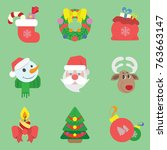 colored holiday icons for the... | Shutterstock .eps vector #763663147