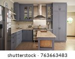 country style kitchen with an... | Shutterstock . vector #763663483